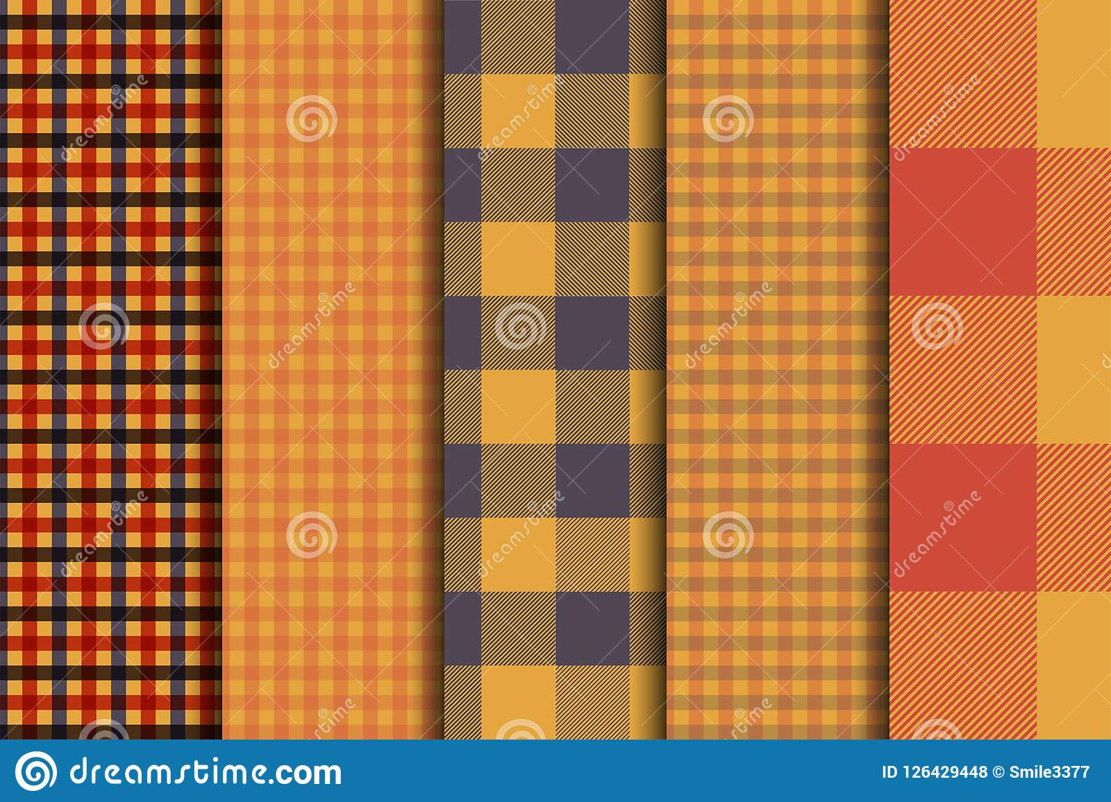 Set of 5 options tartan seamless pattern backgrounds. Autumn color panel plaid.
