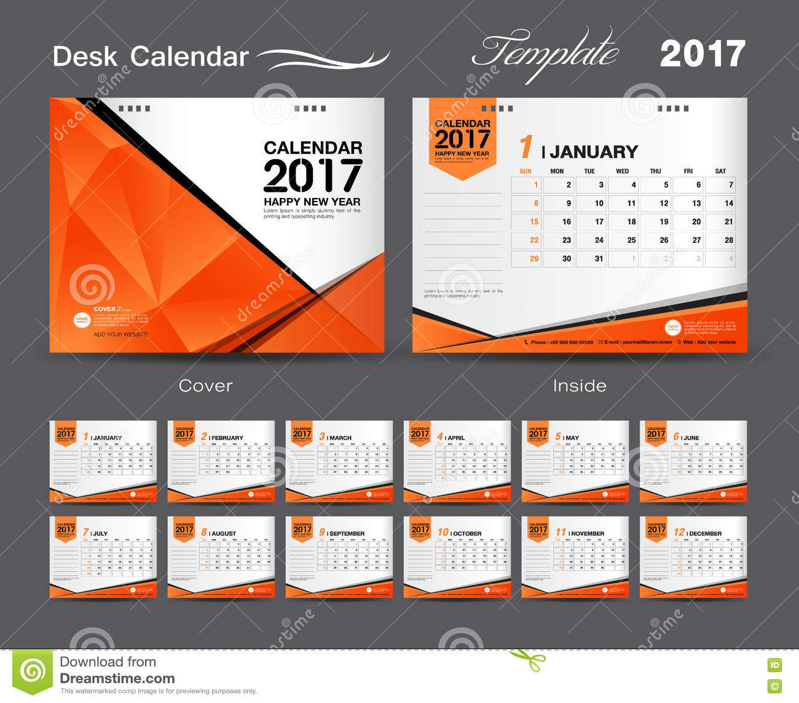 Calendar Design Price : Set orange desk calendar template design cover