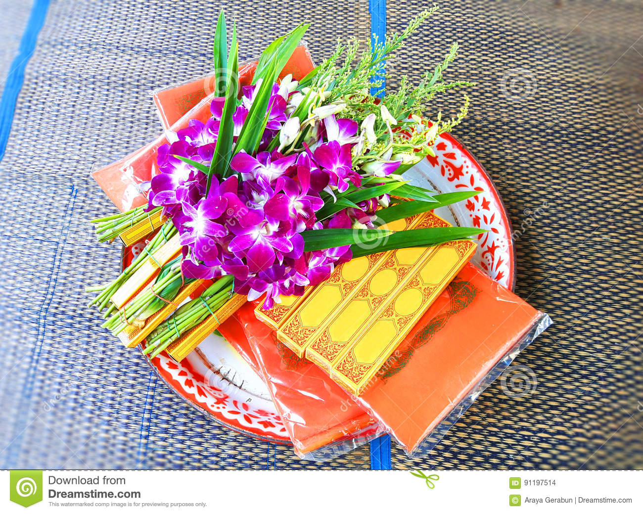 Set Of Orchid Flowers, Candles, And Incense For Holy Spirits Stock