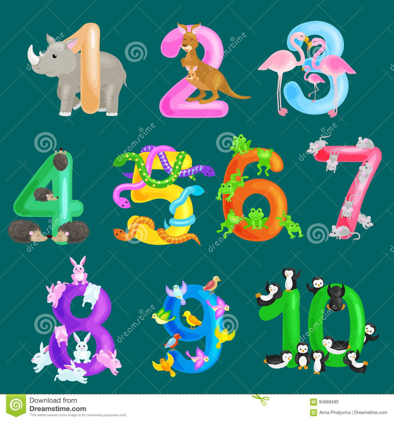 Set Of Ordinal Numbers For Teaching Children Counting With The ...
