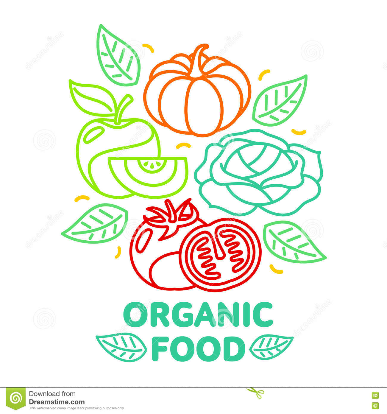 Set Of Organic Food Fruit And Vegetable Logo Card Templates Stock Vector Illustration Of Outline Diet 76789785