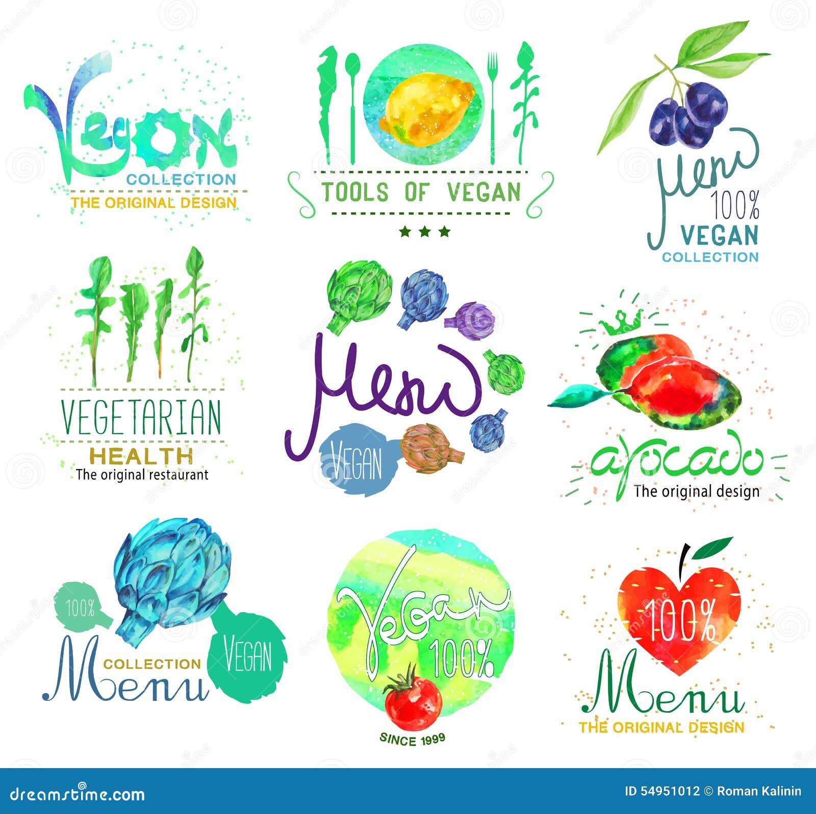 Set Of Organic Food And Menu Logo Badges And Design