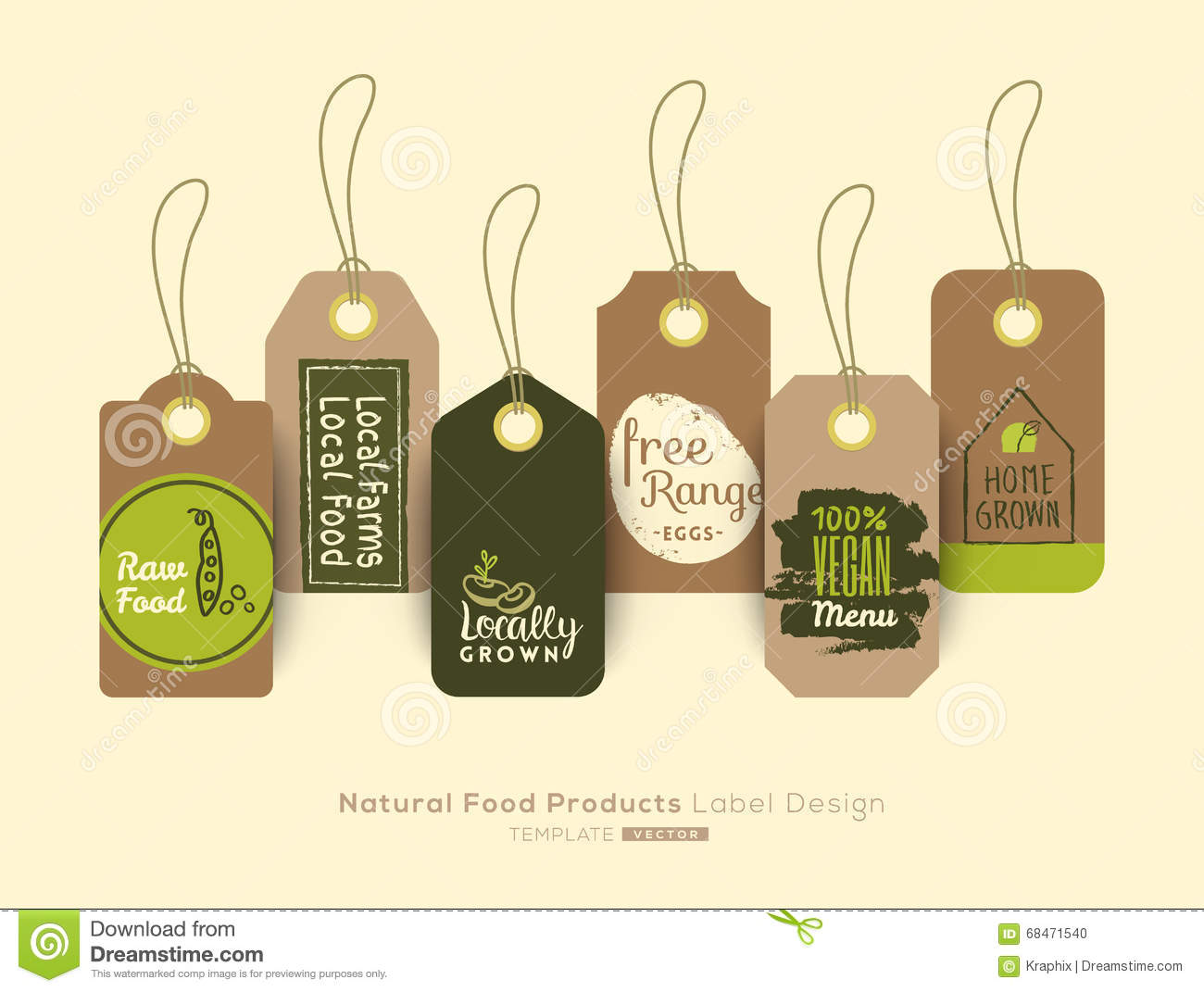set of organic healthy food tag and label sticker design stock