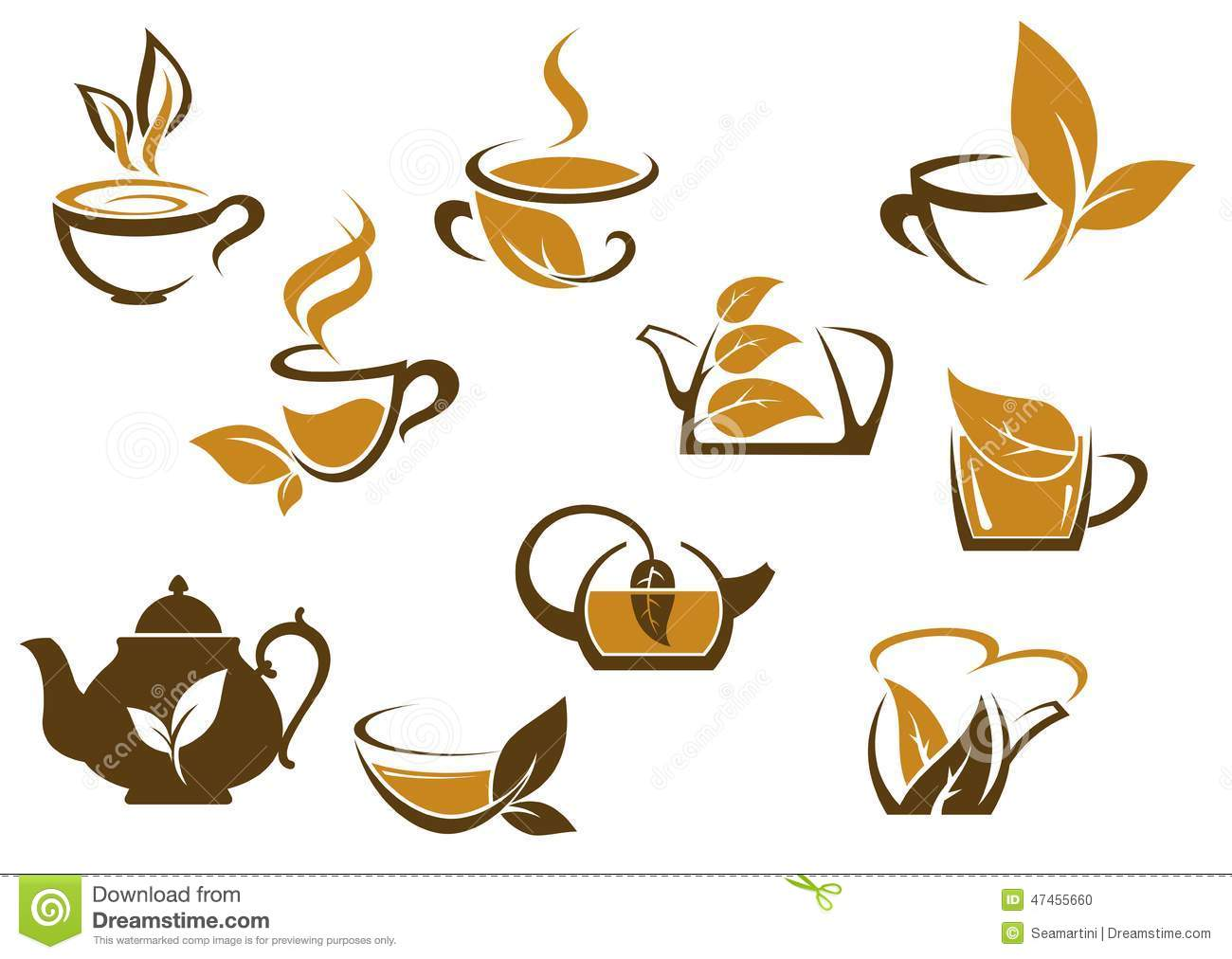 https://thumbs.dreamstime.com/z/set-organic-herbal-tea-icons-brown-white-vector-doodle-sketches-hot-steaming-cups-teapots-fresh-leaves-47455660.jpg