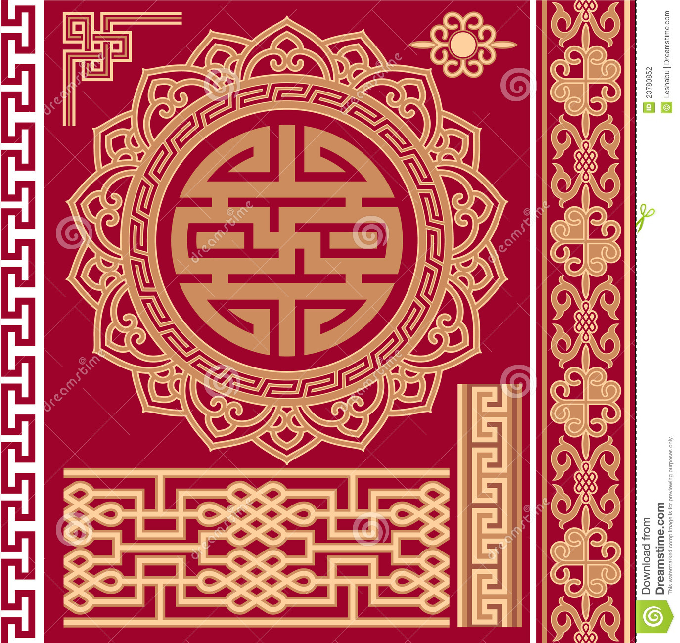 Set Of Oriental Chinese Design Elements Stock