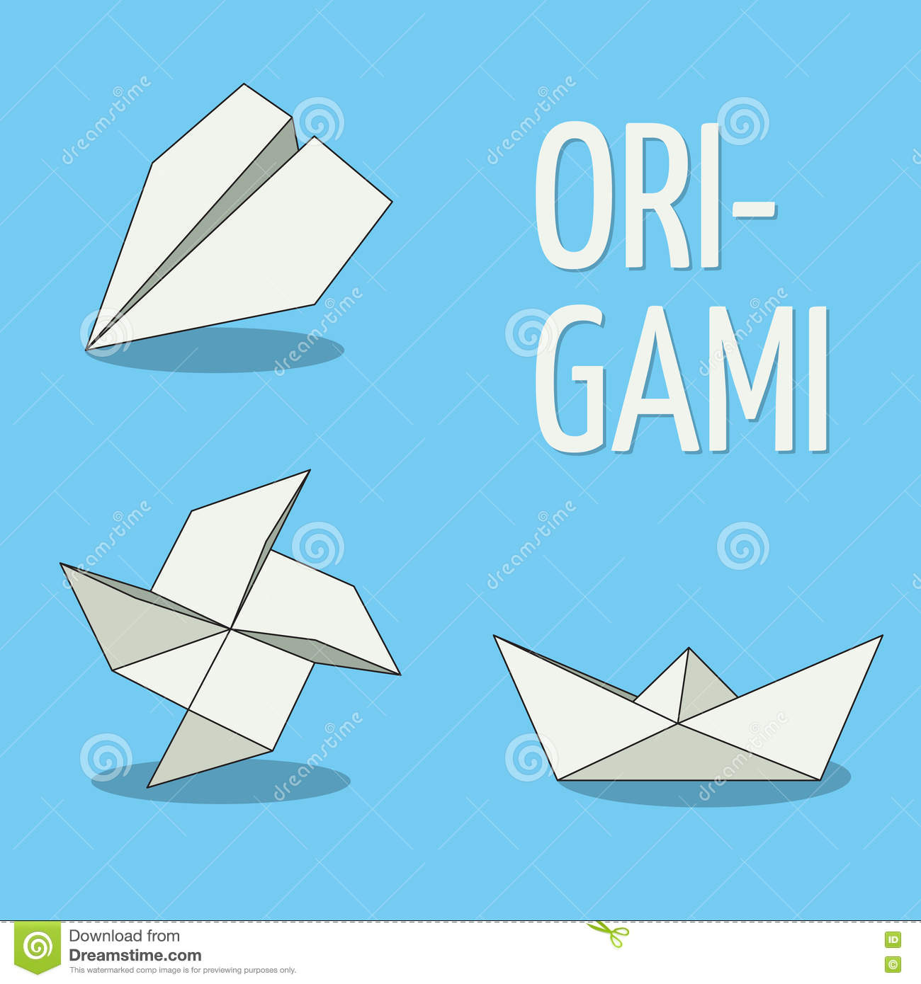 Set of origami objects white on blue background plane pinwheel set of origami objects white on blue background plane pinwheel and boat jeuxipadfo Choice Image