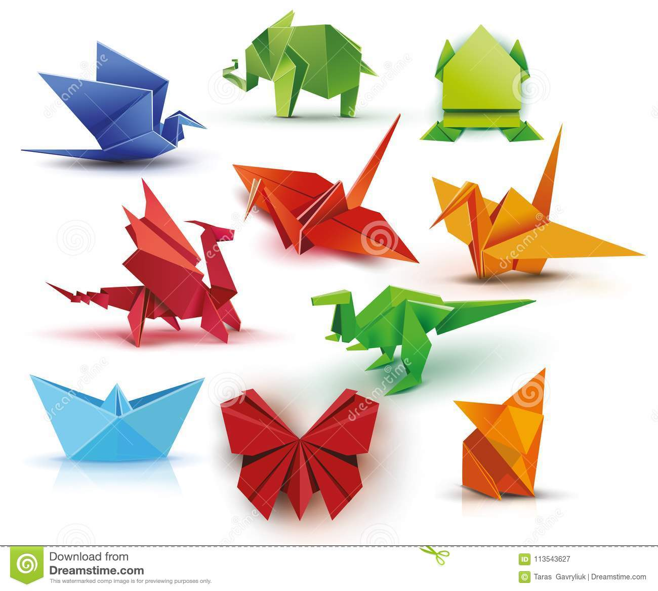 A Set Of Origami Stock Vector Illustration Of Bird 113543627