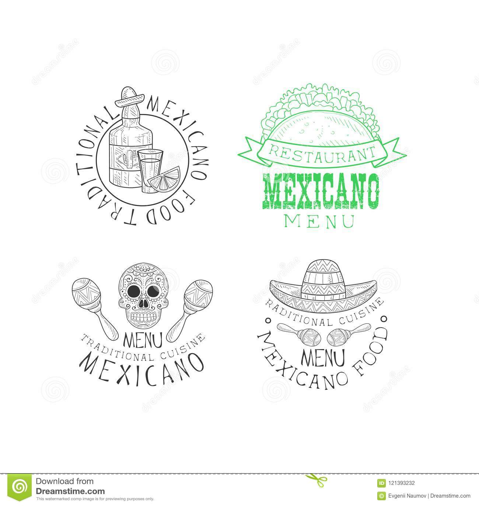 Set Of Original Emblems For Mexican Restaurant Hand Drawn Logos