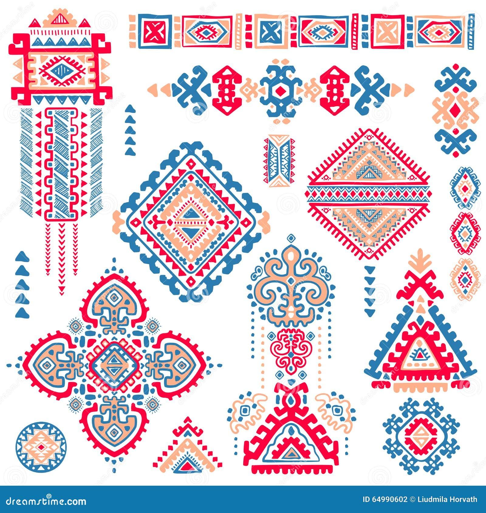 set of ornamental indian symbols ethnic elephant stock vector illustration of design floral. Black Bedroom Furniture Sets. Home Design Ideas