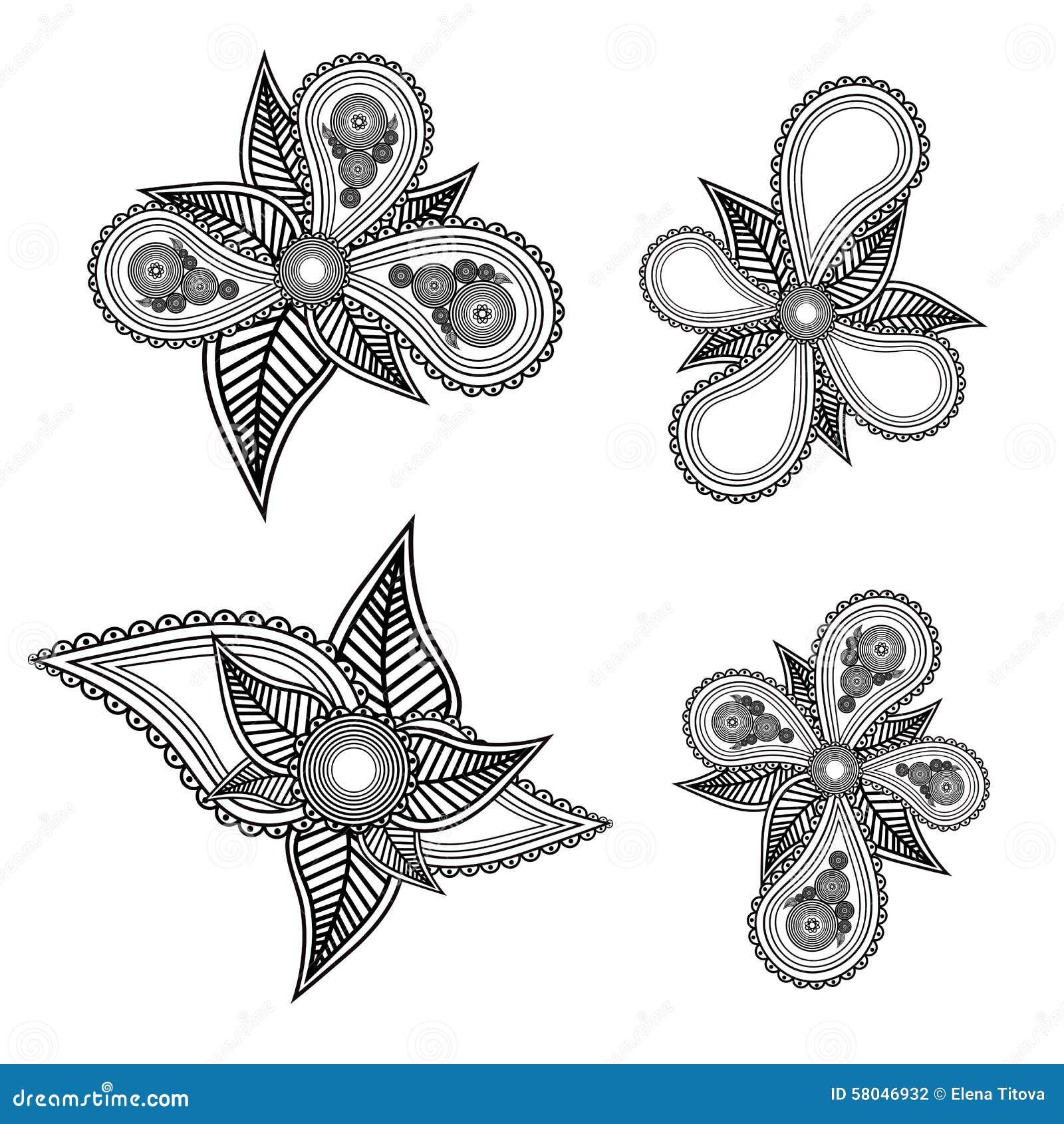Set Of Black Flower Design Elements Vector Illustration: Set Of Ornate Black And White Floral Design Elements With