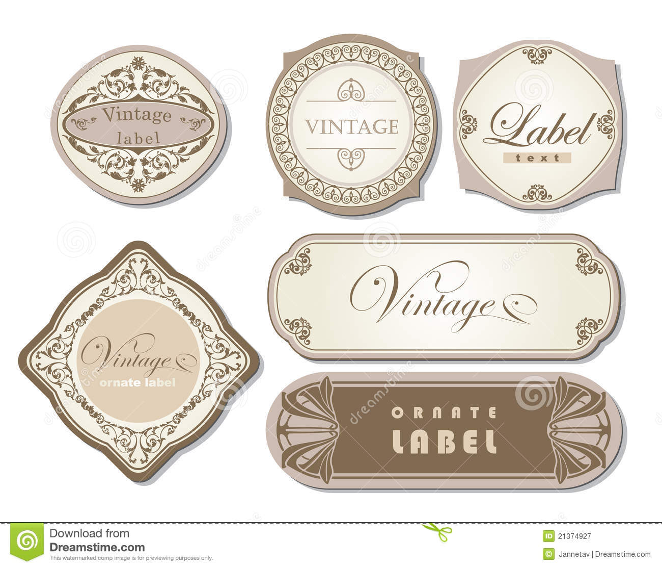 Set Of Ornate Vintage Labels Royalty Free Stock
