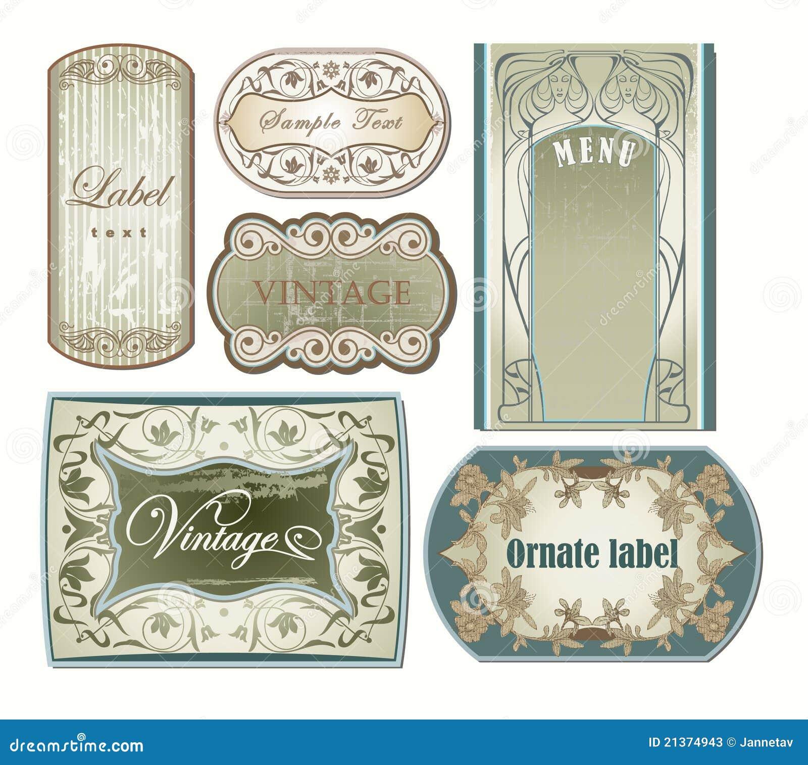 Blank Vintage Label Template Set of ornate vintage labels