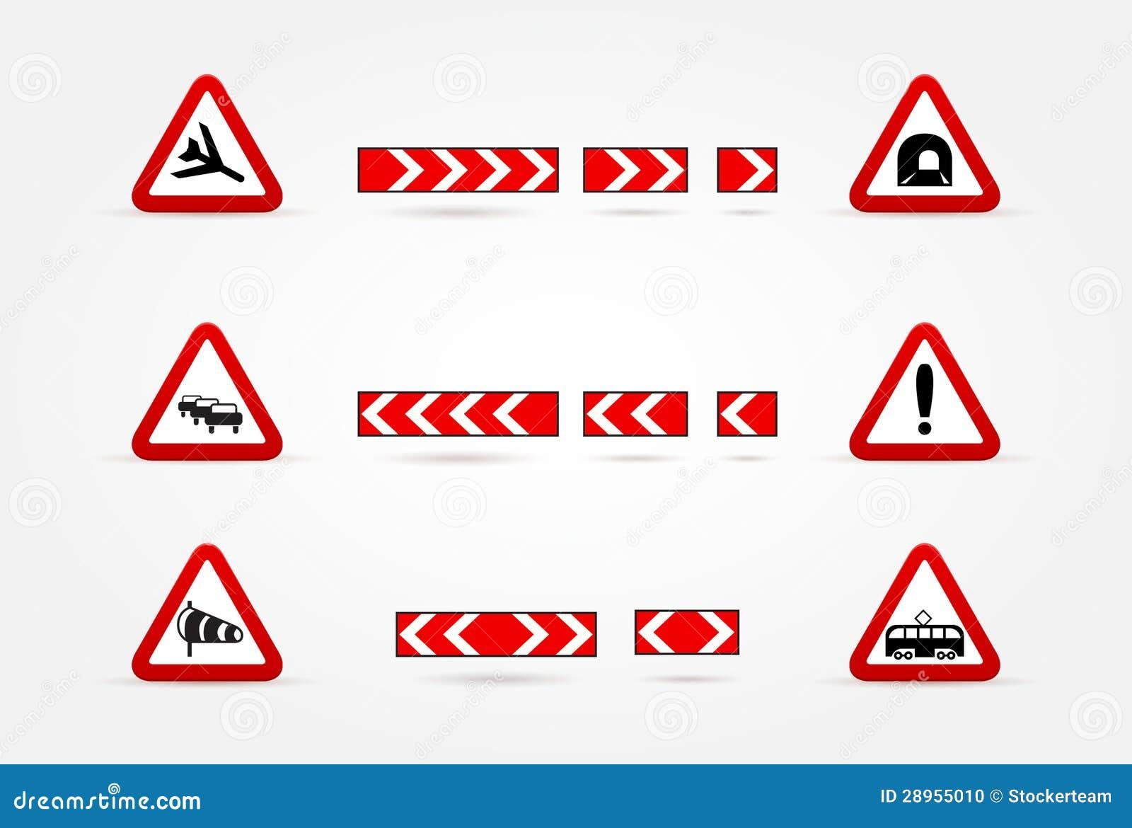 Set Ostrzegawczy ruch drogowy znaki