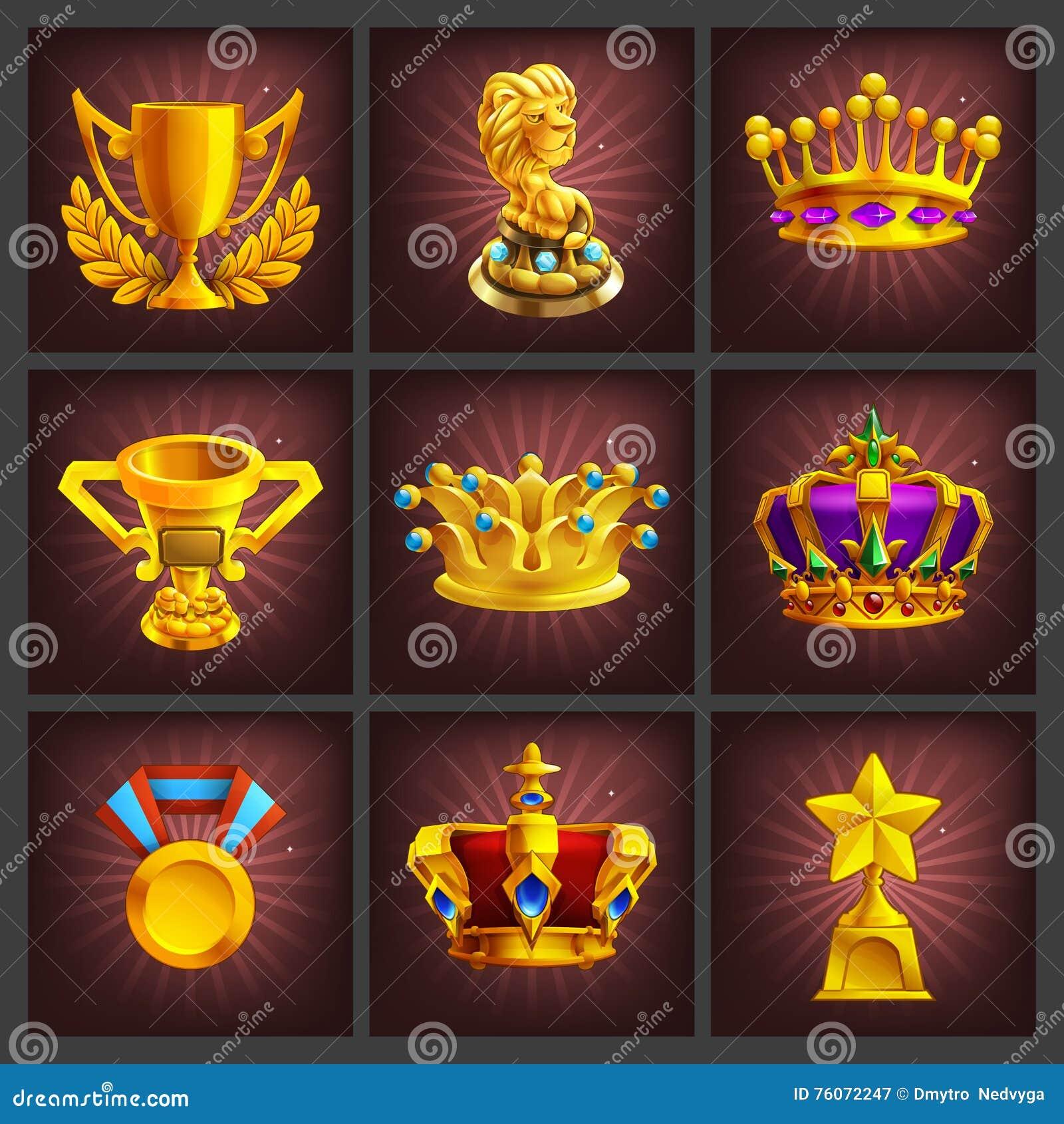 Set otrzymywać kreskówki złotego trofeów, medali, nagrody i osiągnięcie gry ekran,