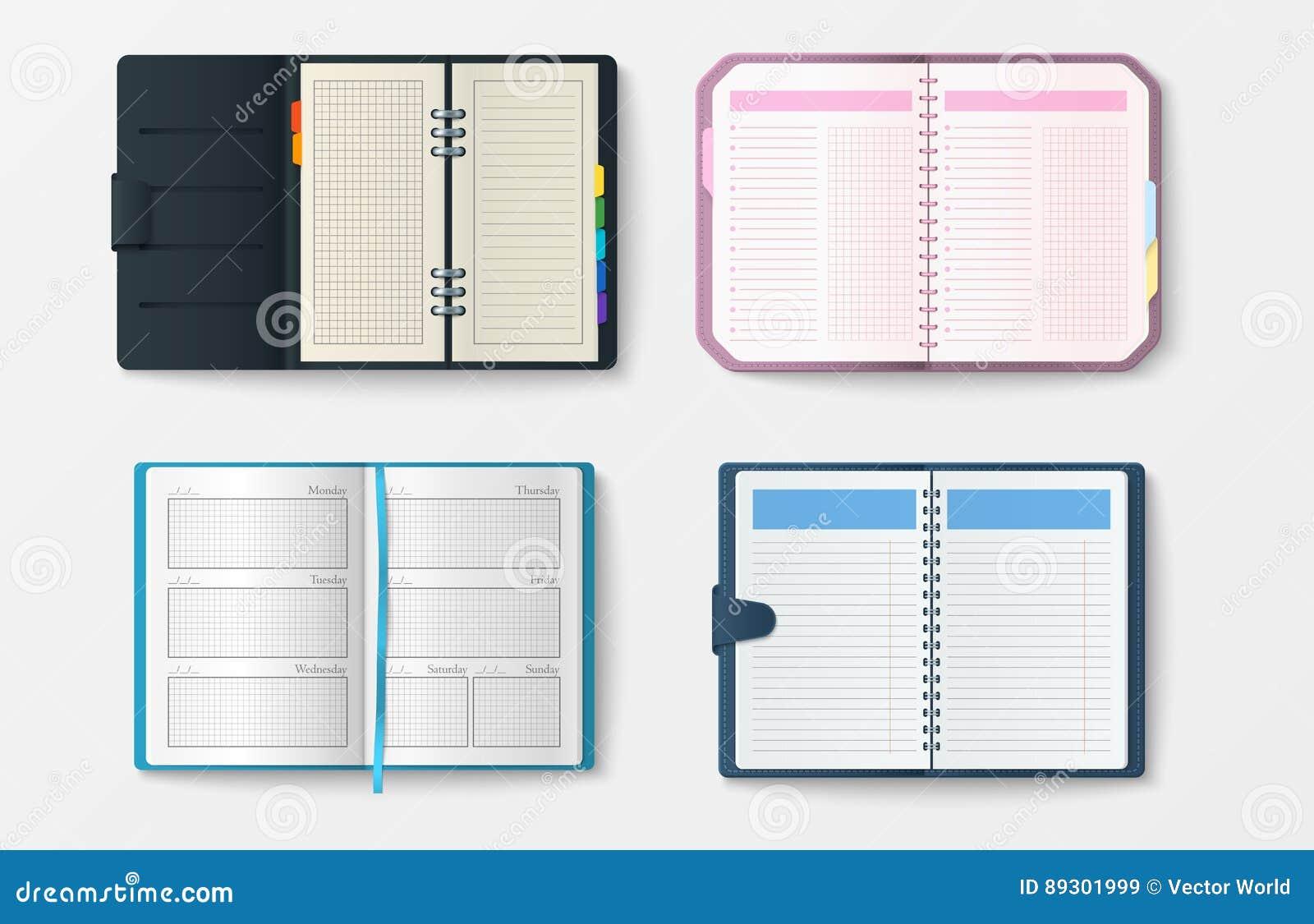 Set otwarci realistyczni notatniki z strona dzienniczka biura prześcieradła szablonu broszury i pustego papieru edukaci copybook