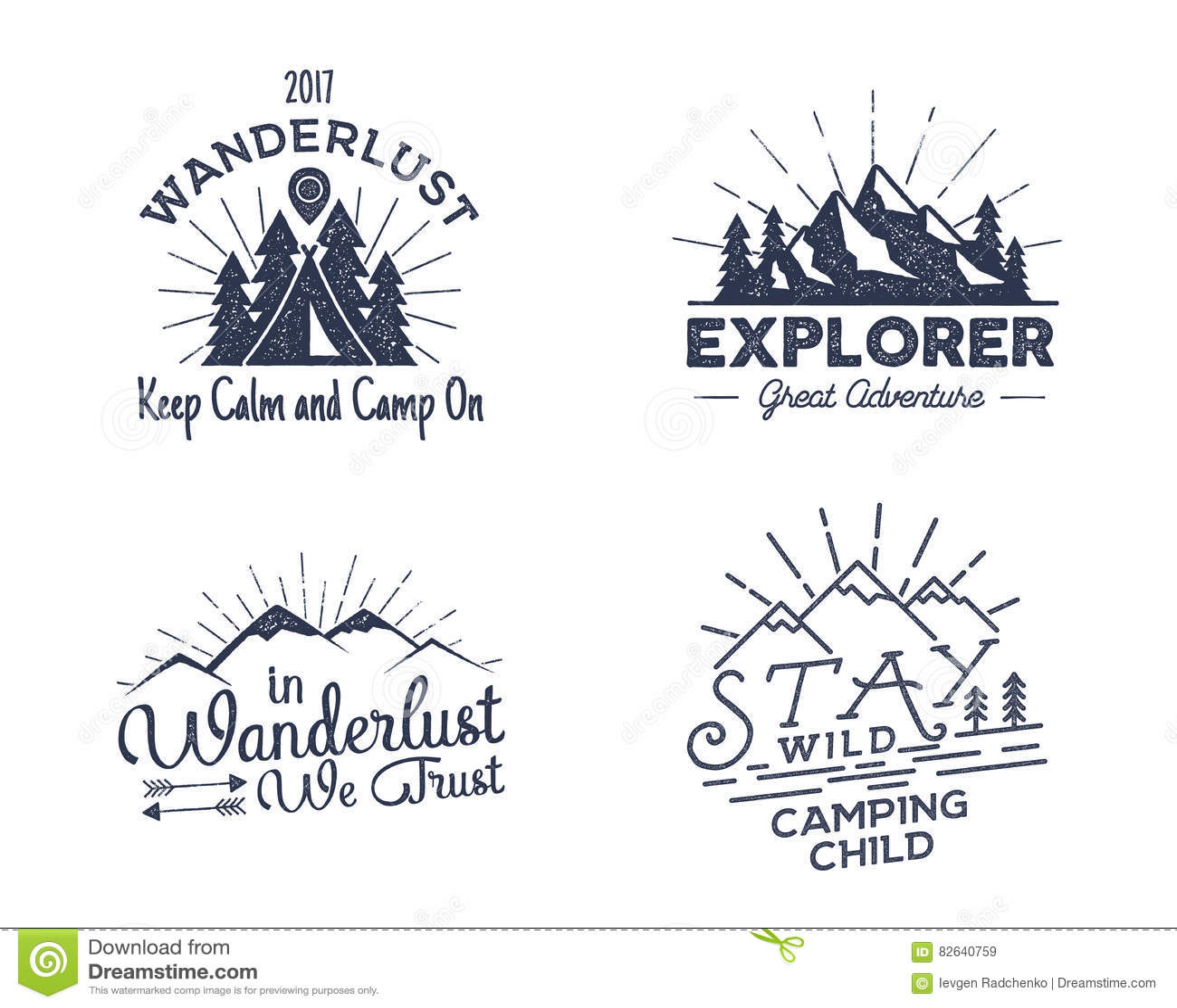 Set outdoors aktywności odznaki Retro ilustracyjne plenerowe etykietki Typografia i chropowacieje styl Wektorowy logo z