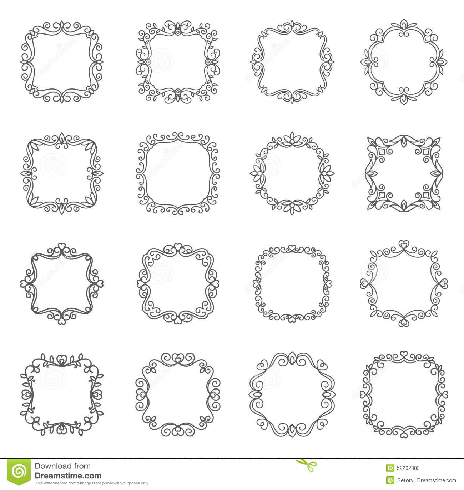 Set outline frame stock vector. Illustration of organic - 52292803