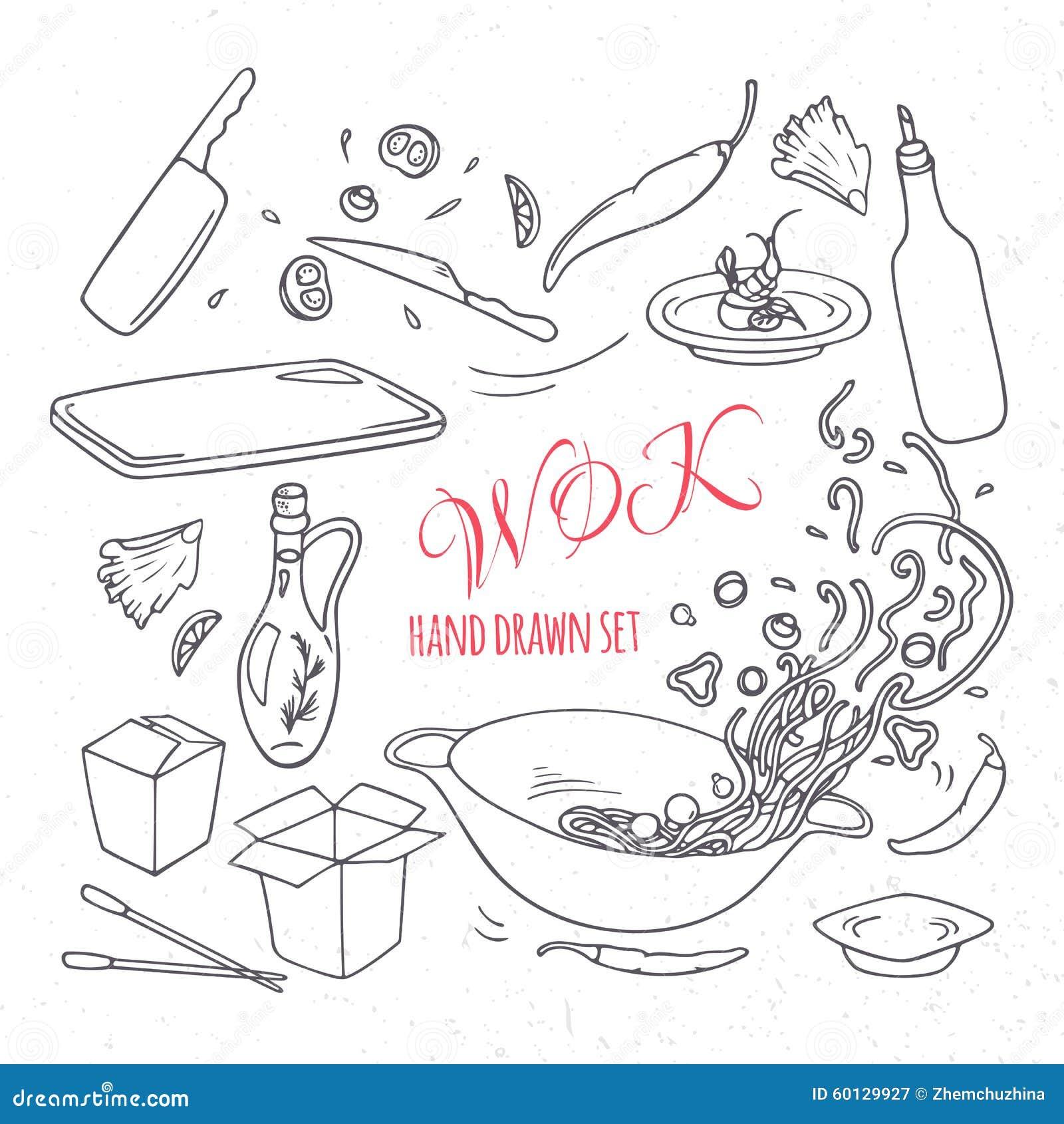 Set Of Outline Hand Drawn Wok Restaurant Elements For Your Design Doodle Asian Food Vector Il Ration