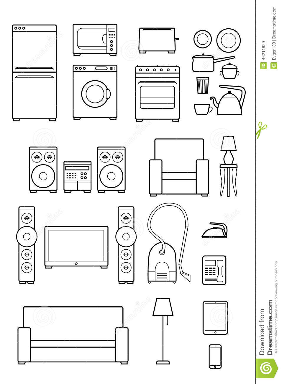 set outline icons of household appliances stock vector
