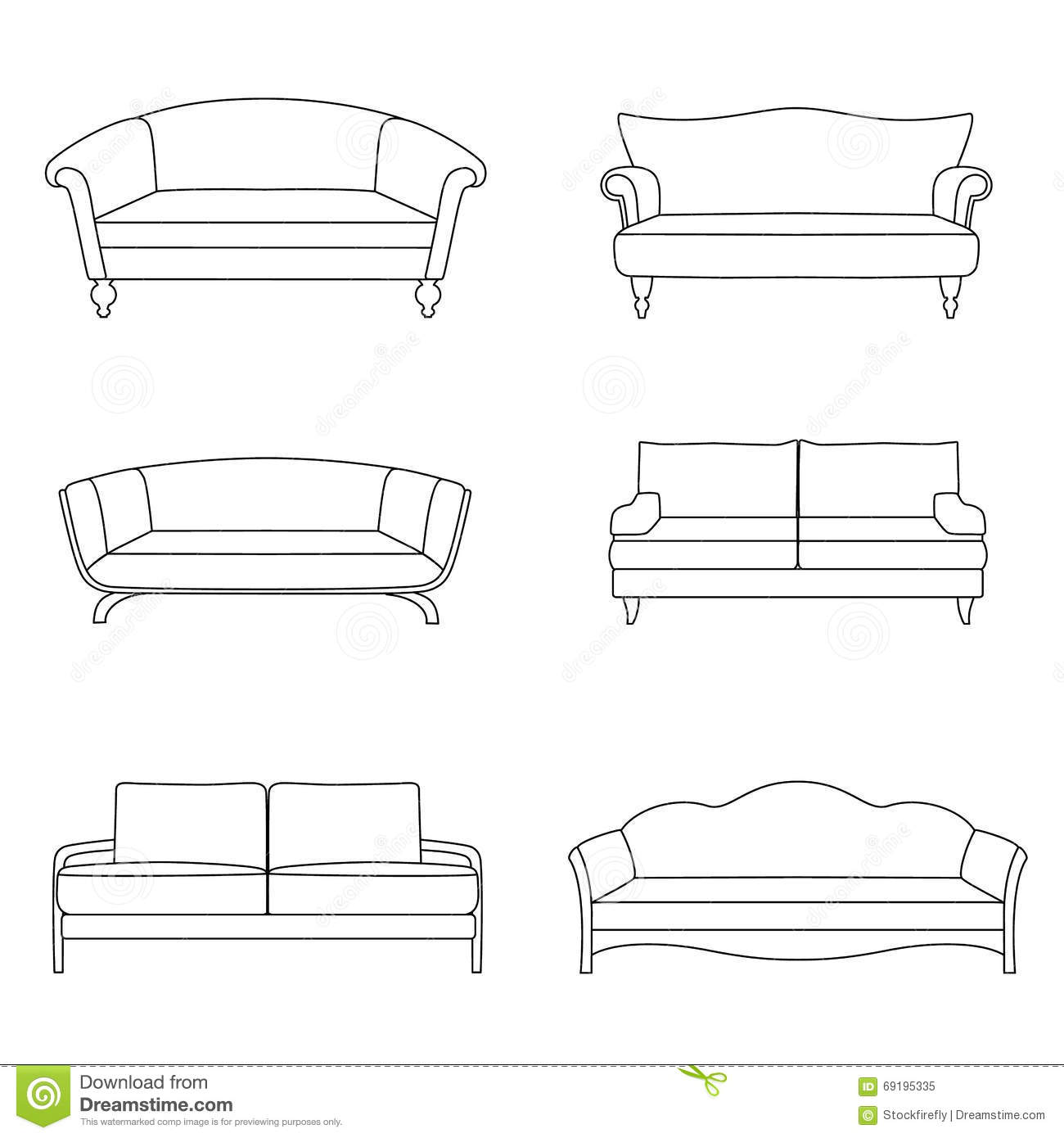 A Set Of Outline Sofa Stock Vector Illustration Of Comfort 69195335