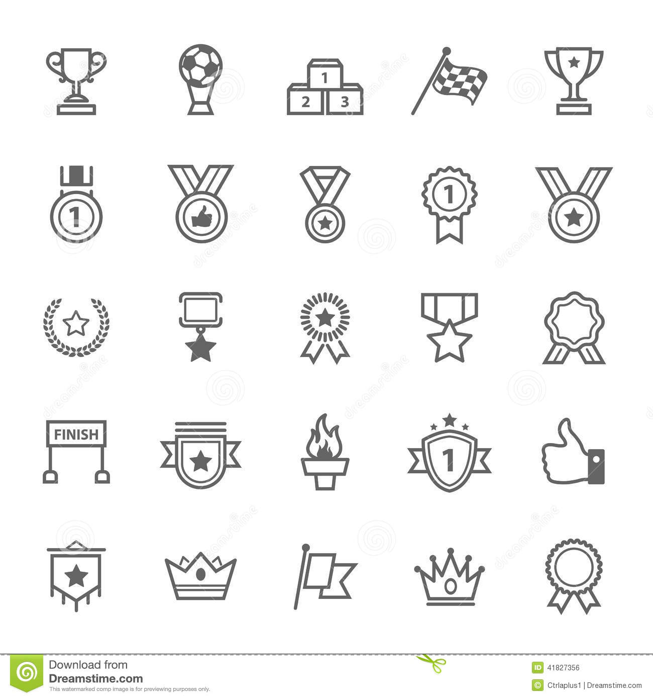 Set of Outline stroke Award and Trophy icon