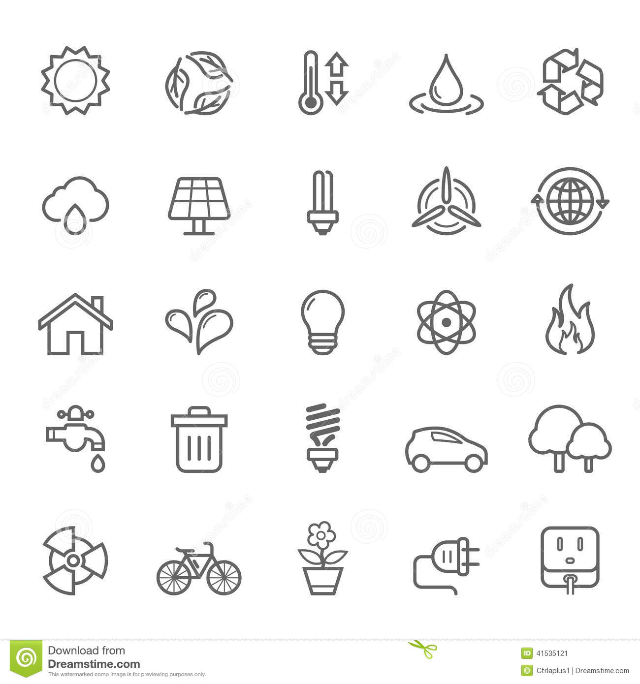 Set of Outline stroke Ecology icon
