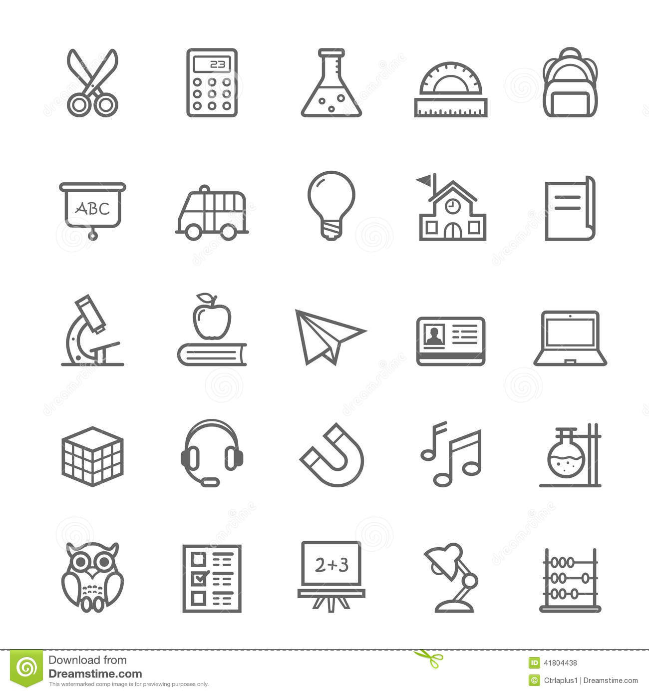 Set of Outline stroke Education icon