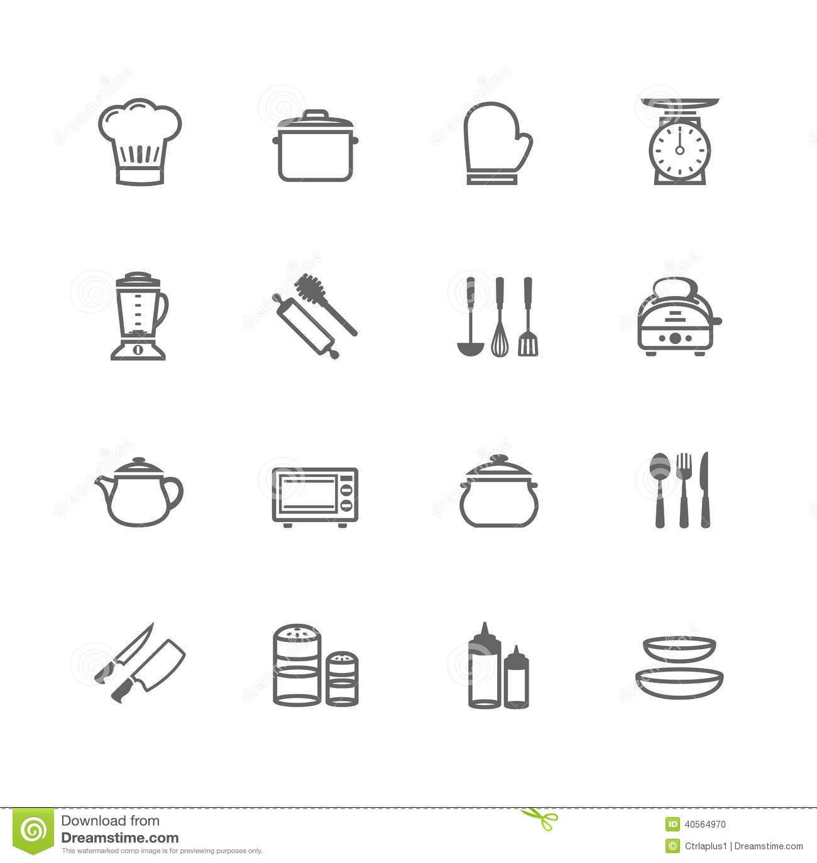 Set of Outline stroke Kitchenware icon