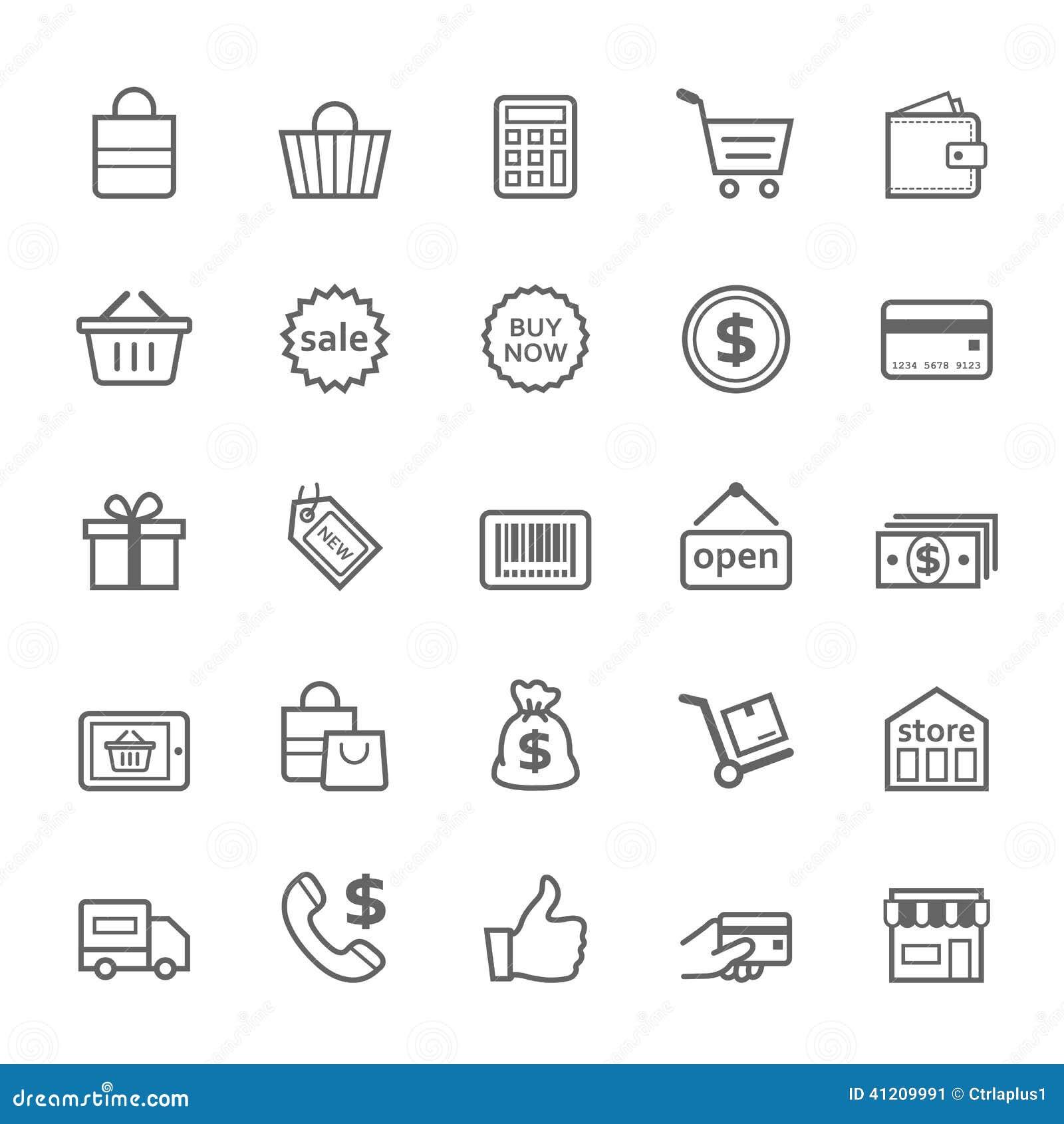 Set of Outline stroke Shopping icon