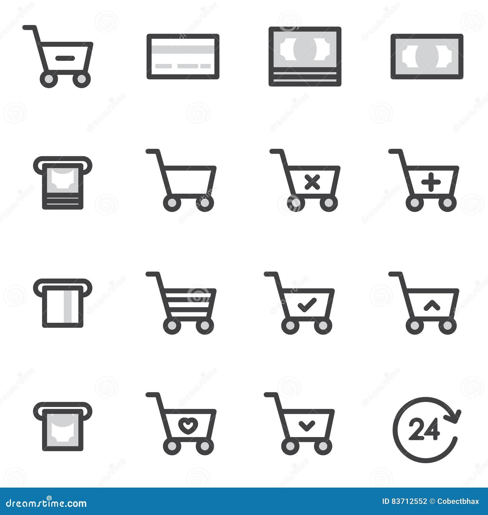 Set Of Outline Stroke Shopping Icons Vector Illustration Stock Photo