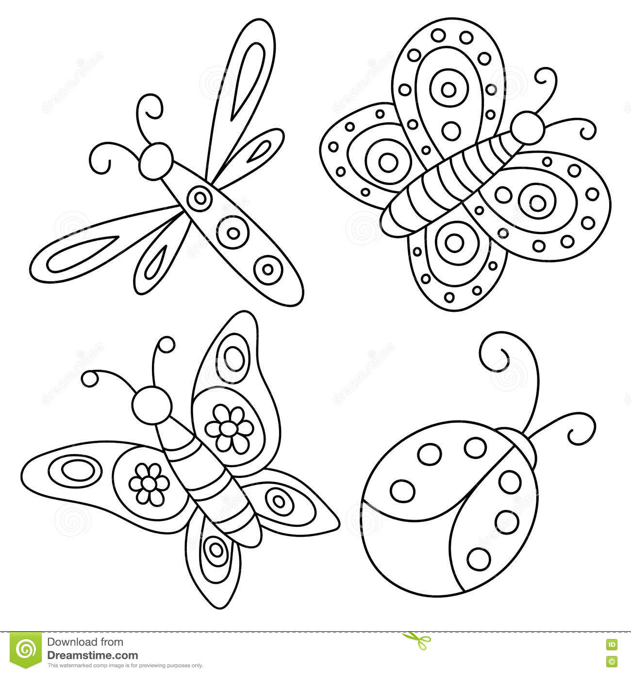 Set Of Outlined Hand Drawn Butterflies