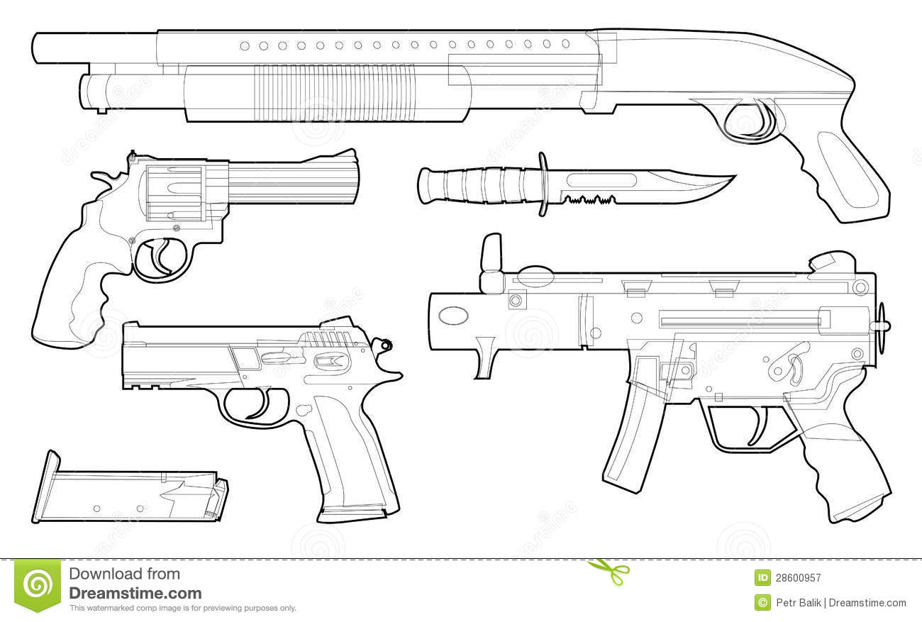 set of outlined various weapons royalty free stock