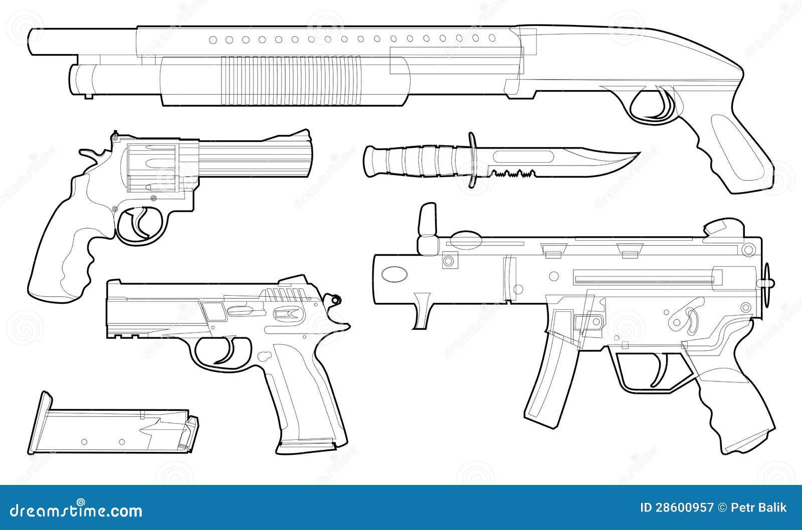 Pistool Kleurplaat Set Of Outlined Various Weapons Royalty Free Stock