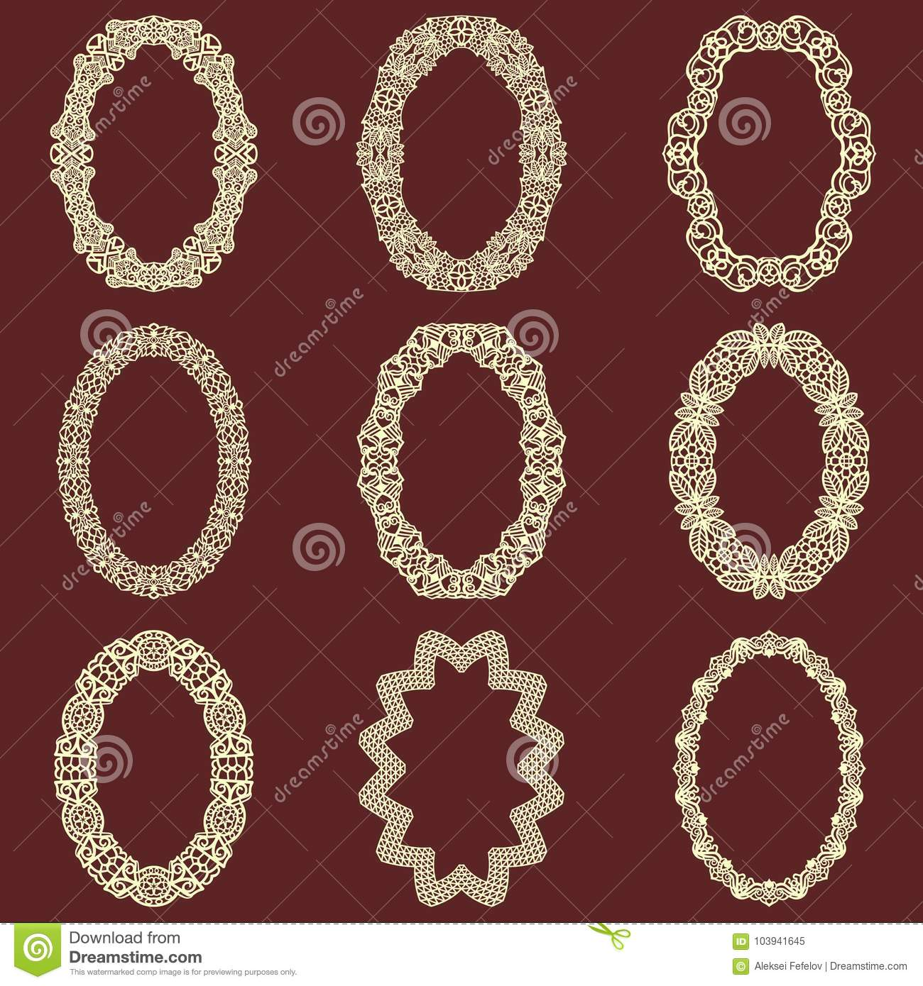 808483105e0e Set of oval vintage frames background. Vector design elements that can be  cut with a laser. A set of frames made of decorative lace borders.