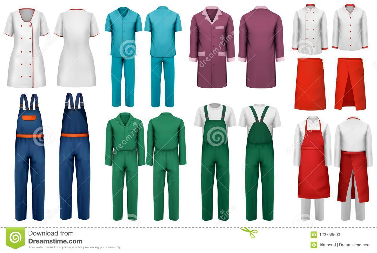 set of overalls with worker and medical clothes stock vector