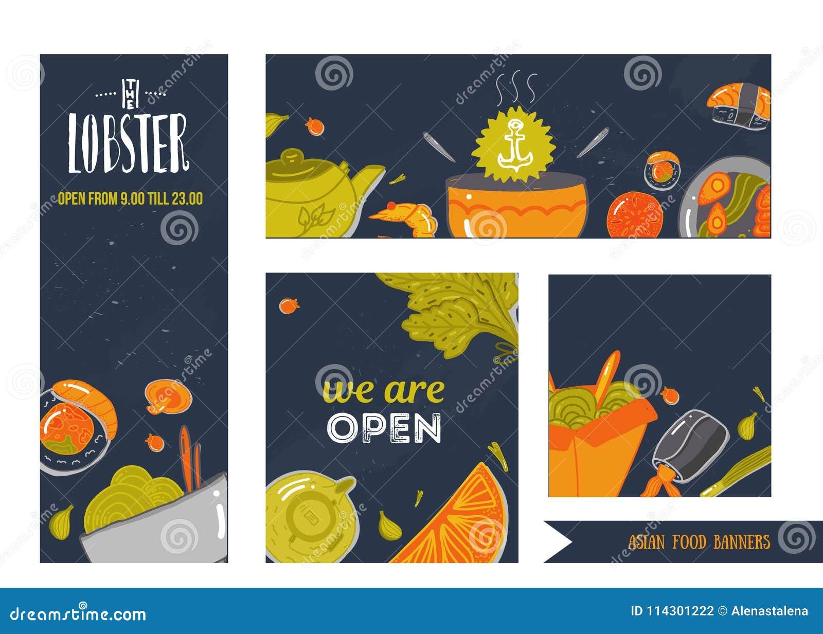 Set owoców morza sztandarów wektoru ilustracja Doodle ręka rysująca w doodle stylu Azjatycki restauracyjny jedzenie