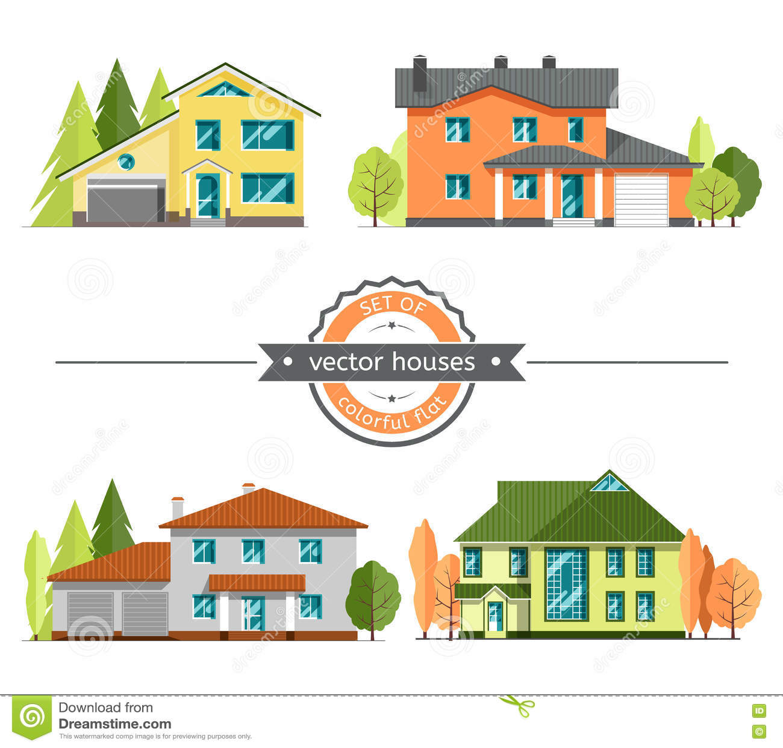 Set płascy wektorowi domy