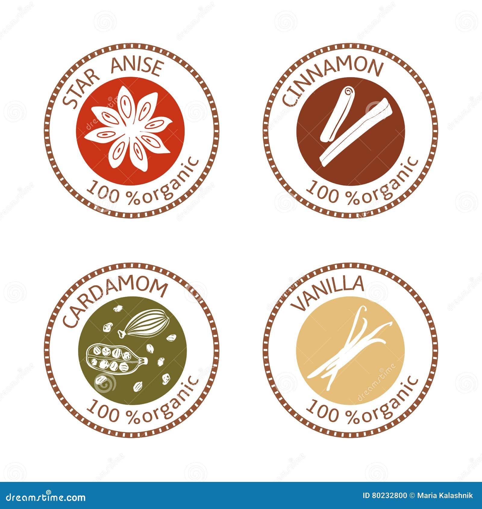 Set płaskie pikantność znaczka etykietki 100 organicznie Kolekcja