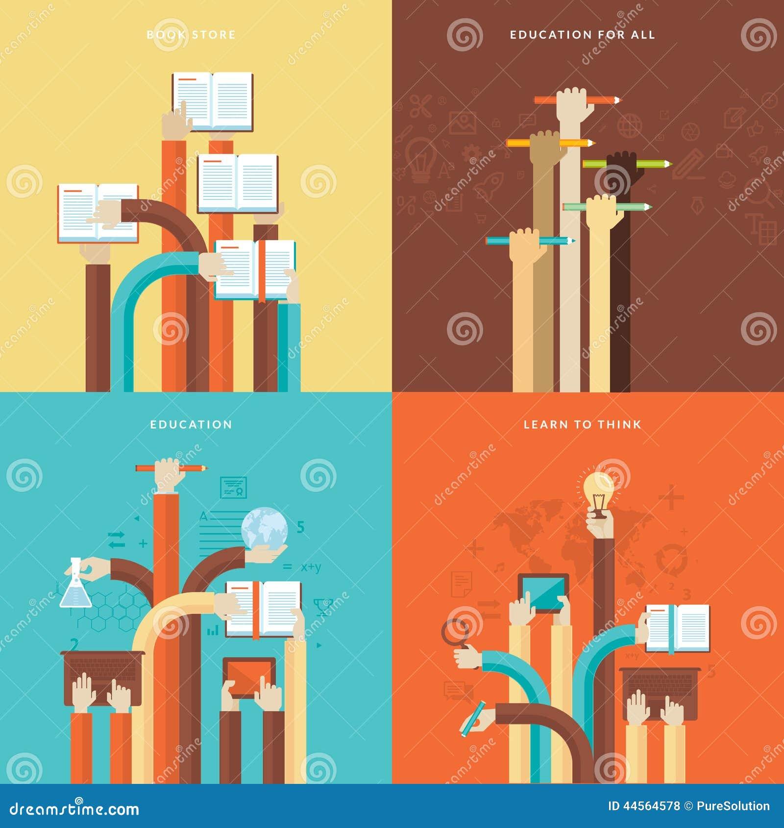 Set płaskie projekta pojęcia ikony dla edukaci