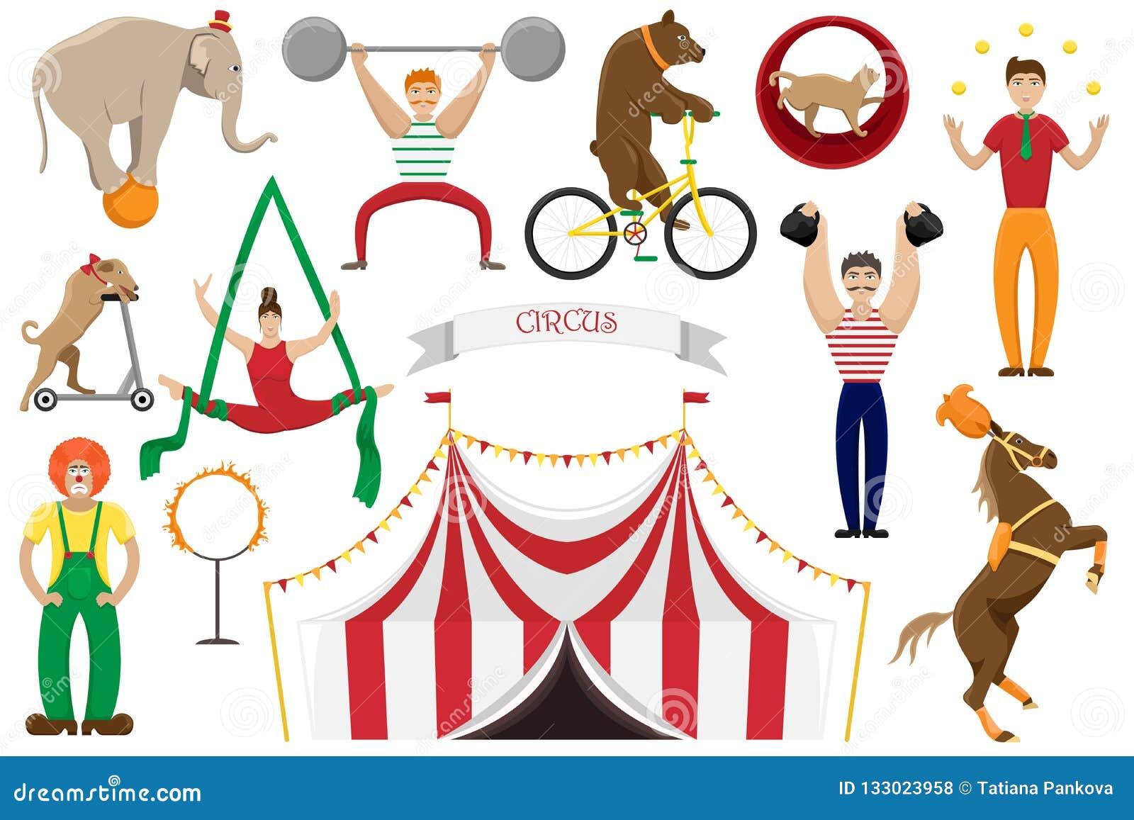 Set płaskie wektorowe ilustracje cyrkowi artyści