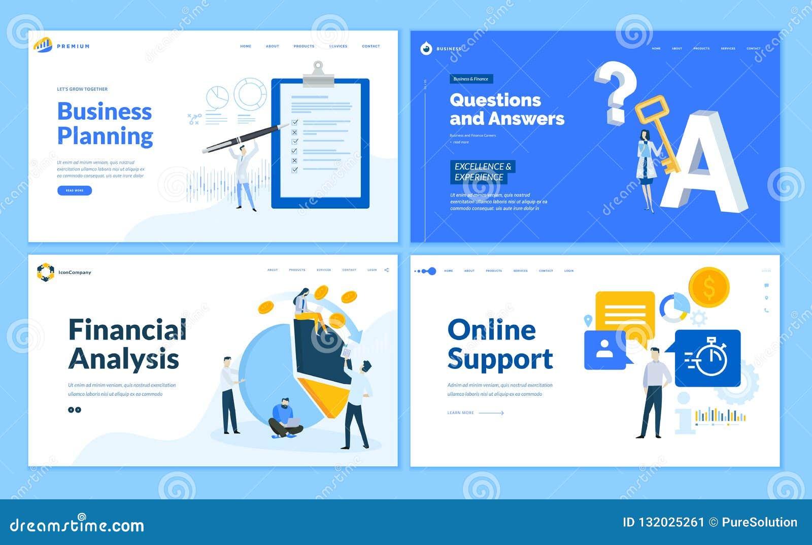 Set płaskiego projekta strony internetowej biznesowi szablony