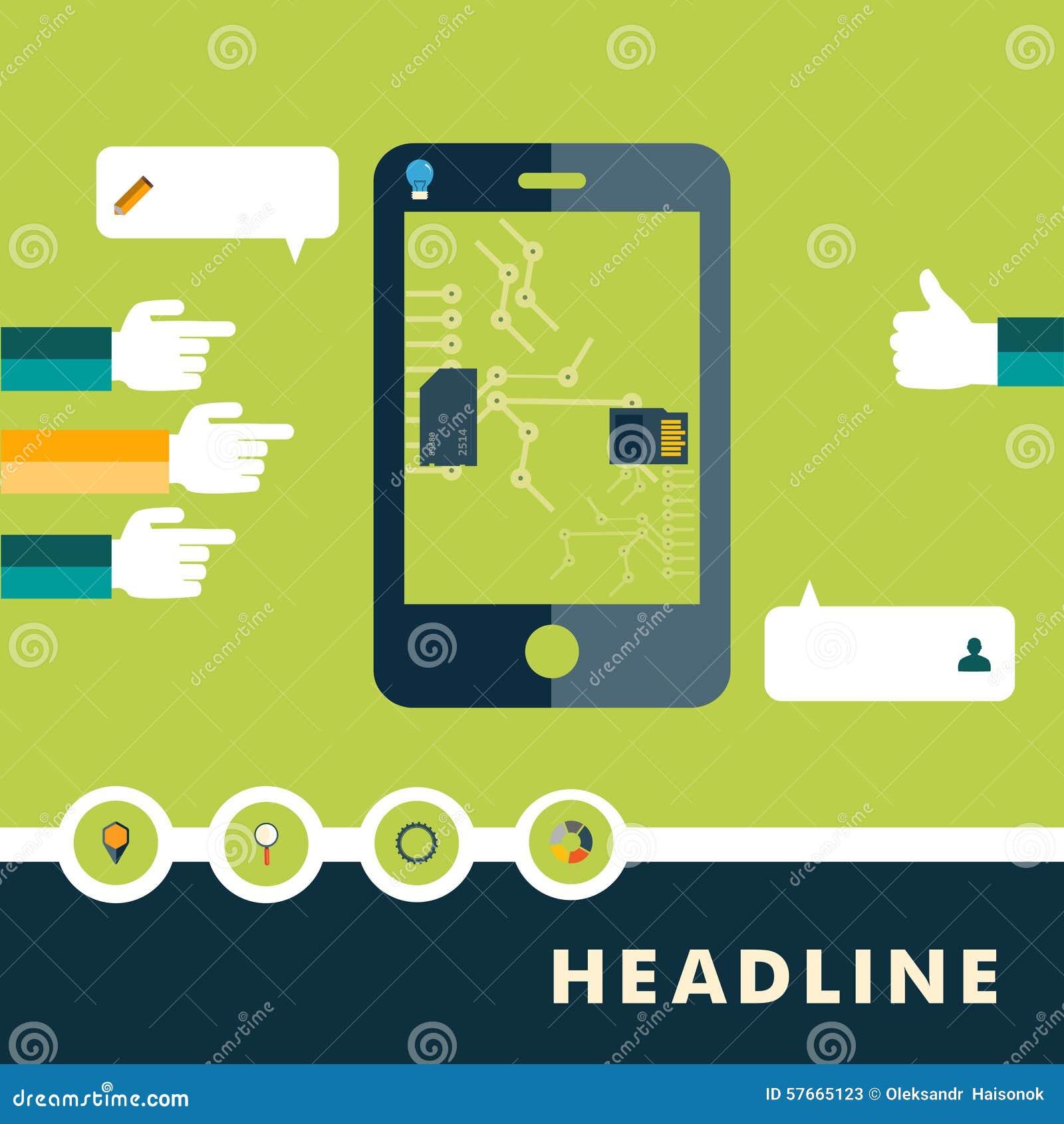 Set płaskie projekt ikony dla smartphone