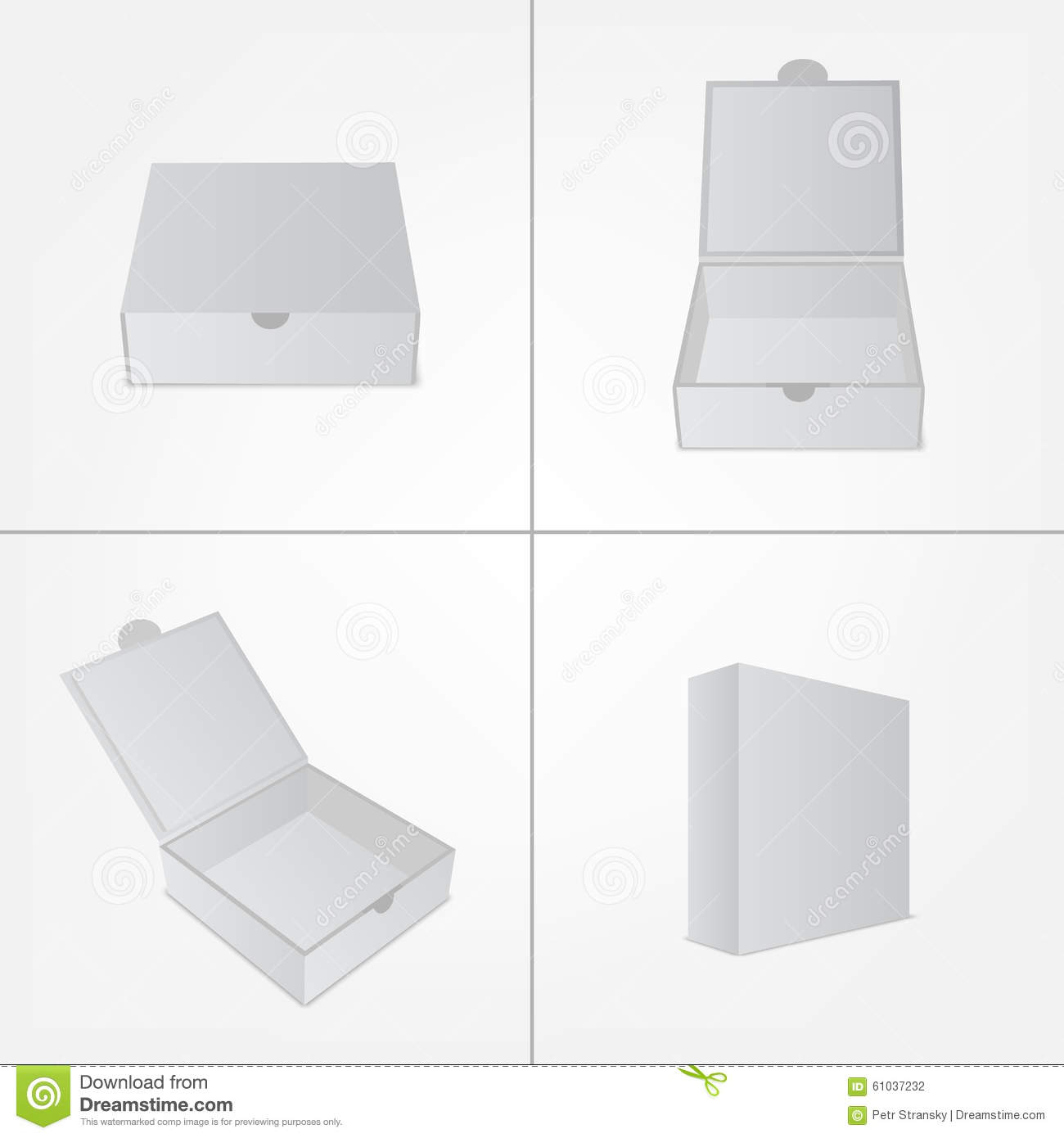 Set Of Packaging Design Mockup. Gray Box In Four Stock Vector ...