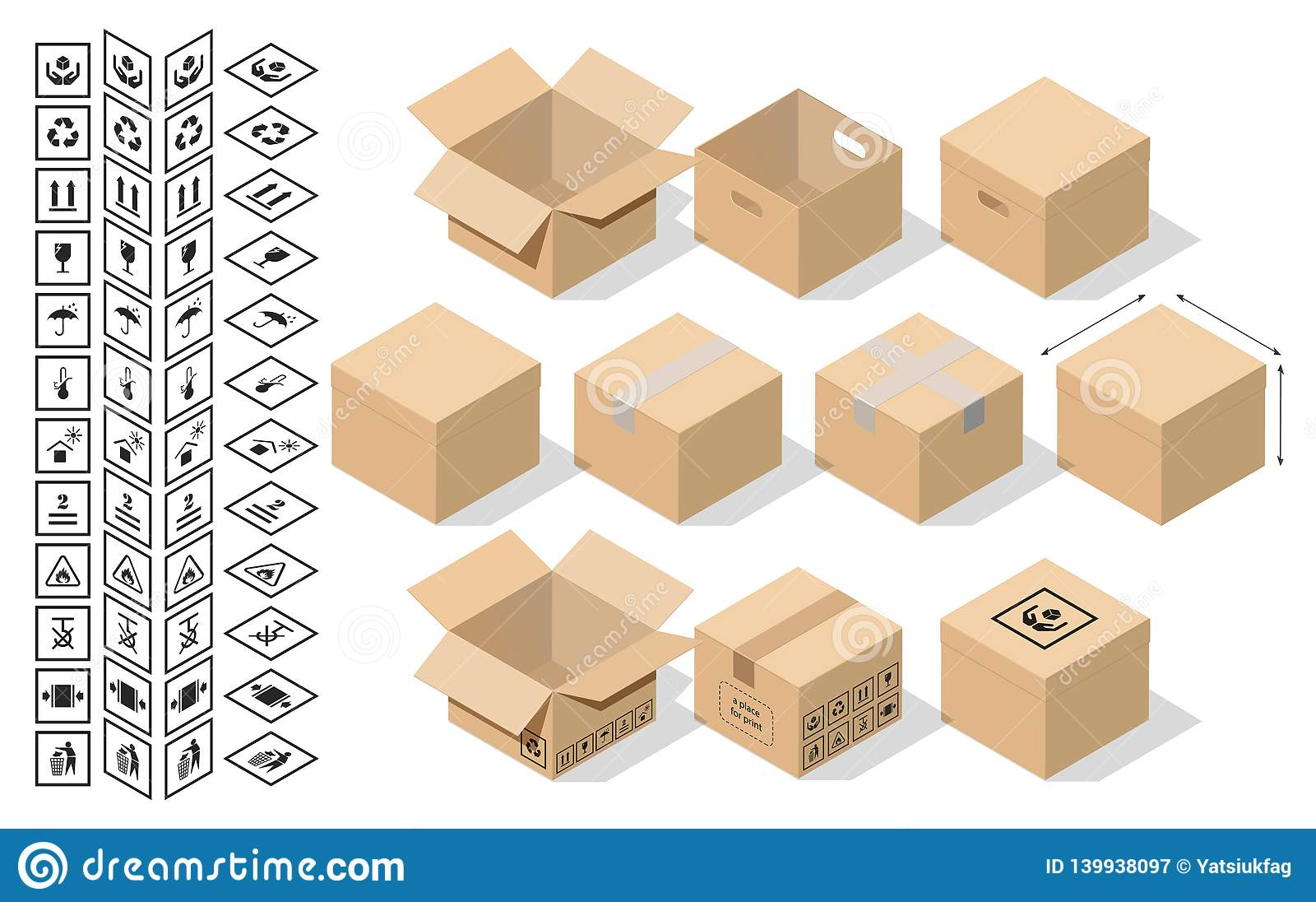 Set for packaging in isometric style.