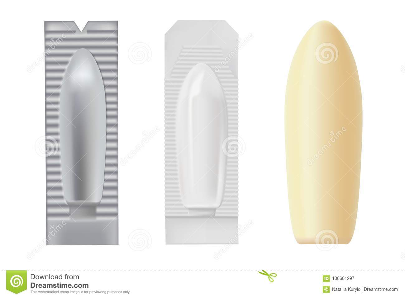 set of packings for a suppository stock vector illustration of