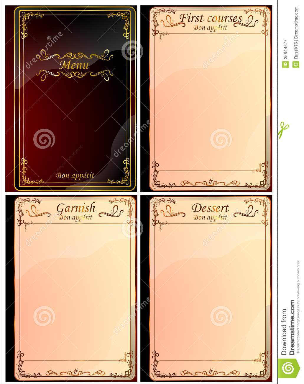 A Set Of Pages For The Restaurant Menu 02 Vector Royalty