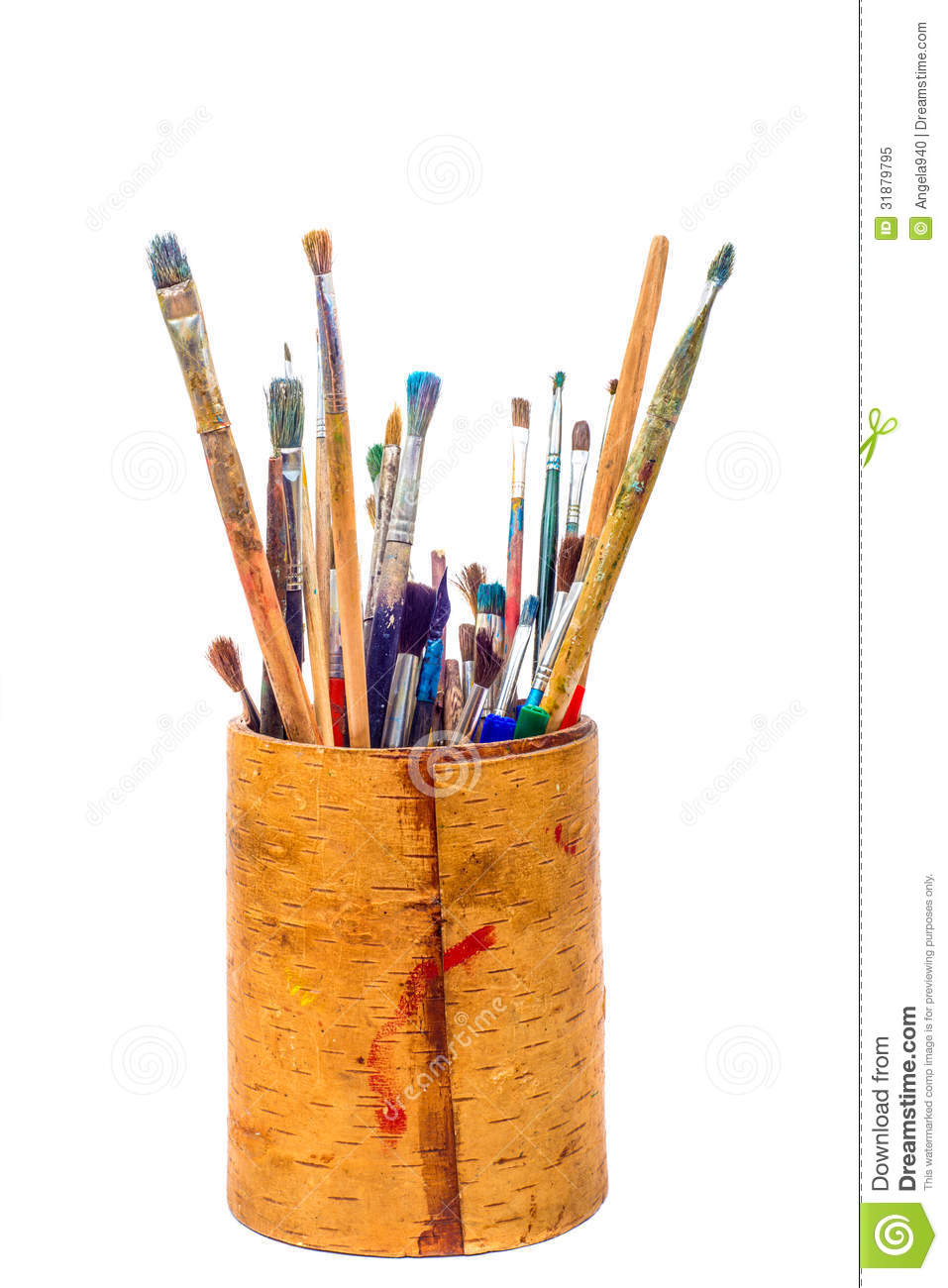 Set Of Paint Brushes In Pencil Holder Royalty Free Stock Photo Image 31879795
