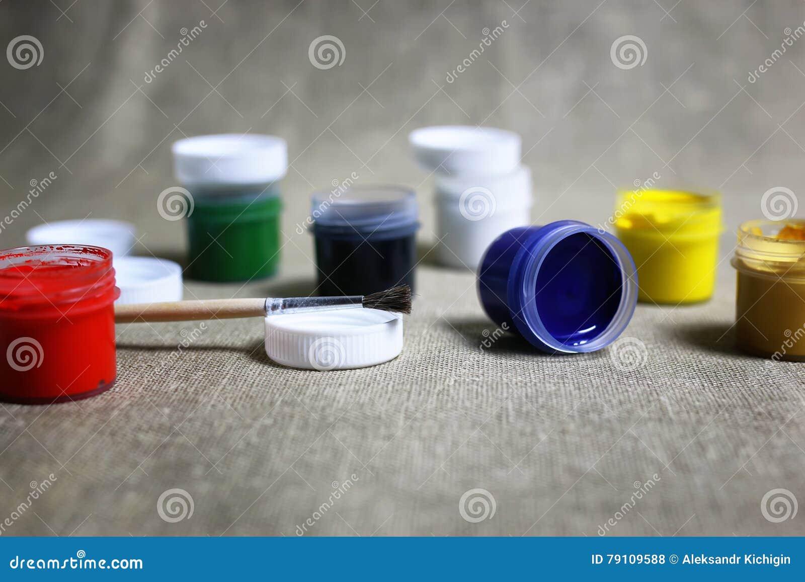 Set of paint cans