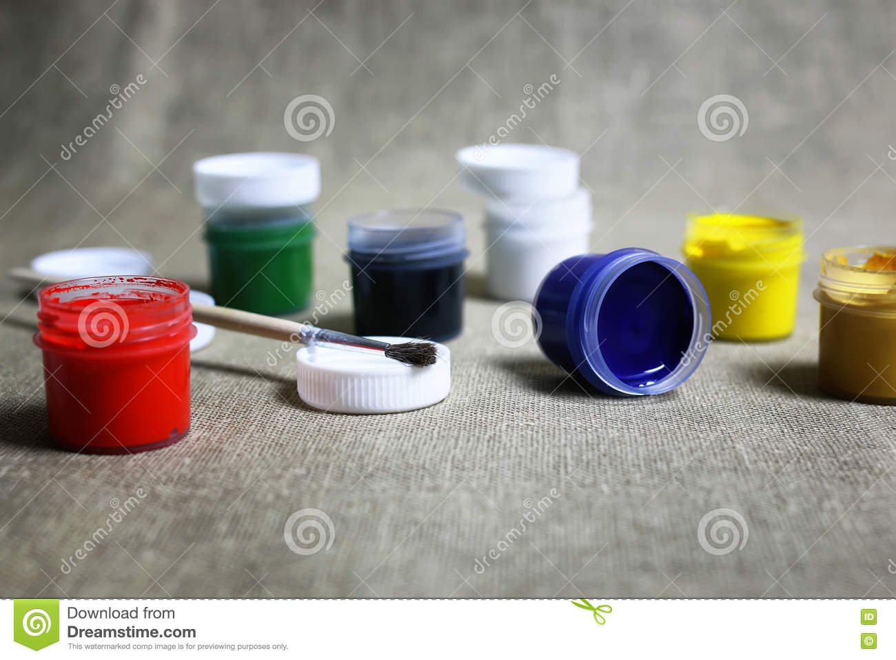 Set of paint cans