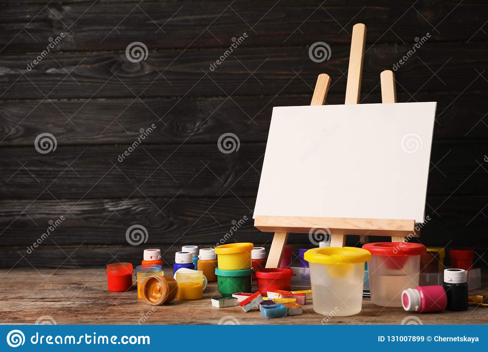 Set Of Painting Materials For Child On Tabl Stock Image Image Of
